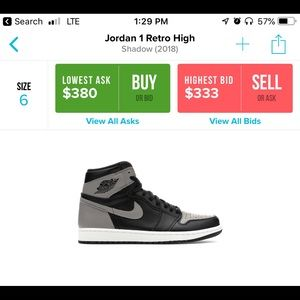 sale retailer 6299a 22719 Jordan Shoes - Jordan 1 Retro High Shadow Size 6